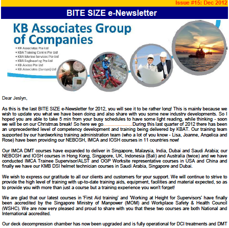 December 2012 Newsletter Issue #15