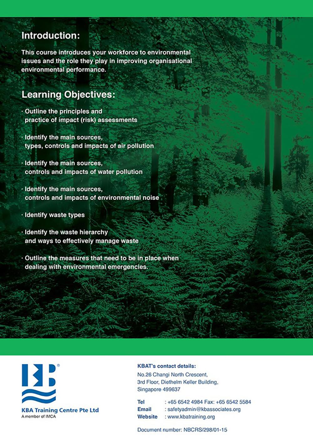 NEBOSH Award in Environmental Awareness at Work Qualification