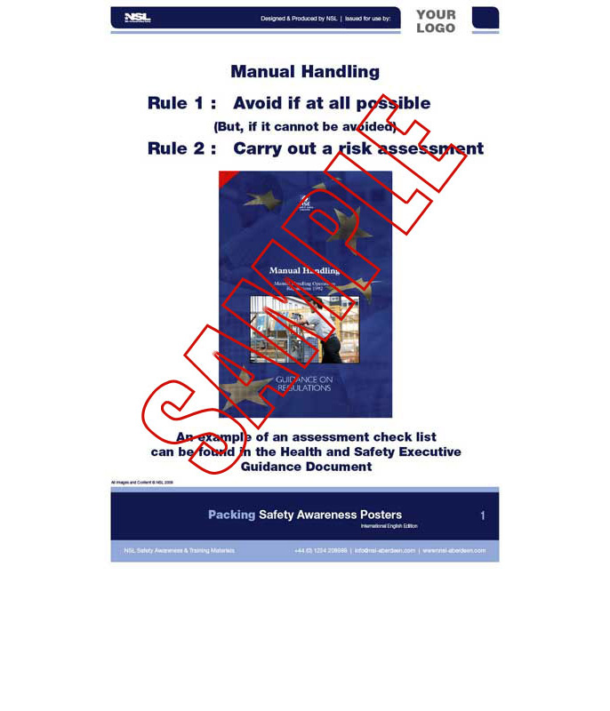 Manual Handling (Packaging) 14 Posters in set